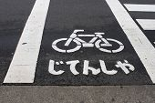Japanese Bicycle Sign On The Road