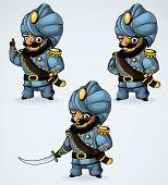 Capitán del turbante. En las tres posiciones.