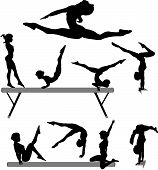 image of gymnastics  - Silhouettes set of a female gymnast or gymnasts doing balance beam gymnastics exercises - JPG
