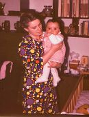 Vintage photo of young aunt with her niece (early seventies)
