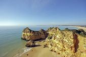 View on the famous beach 'Praia-Tres-Irmaos' in Portugal