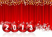 2013 new years illustration with christmas balls and snowflakes on red background