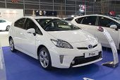 VALENCIA, SPAIN - DECEMBER 7 - A White 2012 Toyota Prius Hybrid Vehicle at the Valencia Car Show on