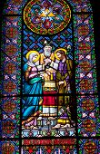 Stained Glass Mary Joseph Marriage Monastery Montserrat Catalonia