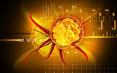 image of polio  - Digital illustration of  Polio virus in colour  background - JPG