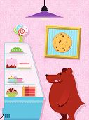 Hungry Little Bear In A Confectionery Shop