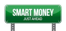 foto of safe haven  - Smart Money Green Road Sign illustration design over white - JPG
