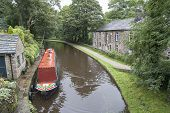 Barge And Towpath From Bridge