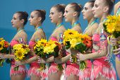 KIEV, UKRAINE - SEPTEMBER 1: Team Italy win silver in the routing with clubs during the 32nd Rhythmic Gymnastics World Championships in Kiev, Ukraine on September 1, 2013