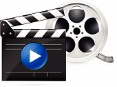 Movie clapboard and reel of film