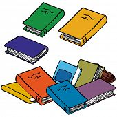 cartoon illustration of a pile of books