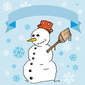 cartoon illustration of a snowman with snowflakes and empty banner