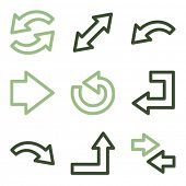 Arrows icons set 1, green line contour series