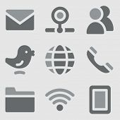 Communication web icons grayscale icons