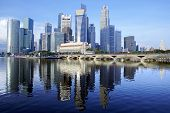 stock photo of urbanisation  - Singapore city daytime skyline with reflections in water - JPG