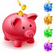 Five colorful piggy banks