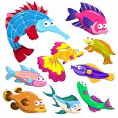 foto of mahi  - cartoon sea animals collection with white background - JPG