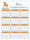 calendar 2014 wooden  horse