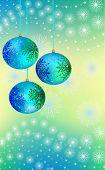 three blue-green Christmas ball
