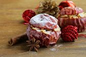 Baked apples with spices (anise, cinnamon) winter holiday dessert
