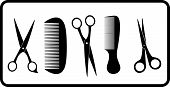 isolated scissors and comb