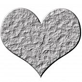foto of loveless  - 3d stone heart that is isolated in white - JPG