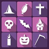 Halloween flat vector icons with long shadow. Set 2