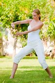 picture of tai-chi  - A slim tall woman doing tai chi outside - JPG