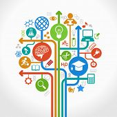 picture of education  - abstract tree with icons - JPG