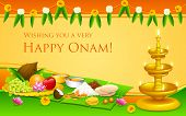 illustration of Onam feast on banana leaf