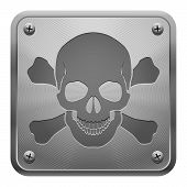 stock photo of skull cross bones  - Metal tablet fixed with screws representing relief image of skull and cross - JPG