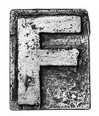 Metal alloy alphabet letter F