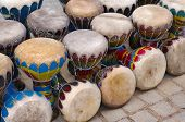 foto of congas  - Many colorful congas or hand - JPG
