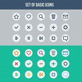 Flat UI design elements - set of basic web icons