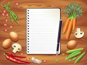 Recipe Book On Wooden Table, Food Ingredients