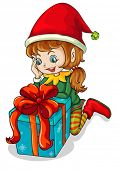 Illustration of an elf beside a gift on a white background
