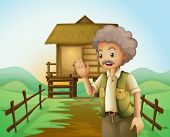 Illustration of an old man in front of the native house at the hilltop