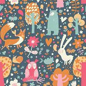 Bright childish seamless pattern with fox, bear, rabbit, owl, snail in trees and flowers. Seamless pattern can be used for wallpapers, pattern fills, web page backgrounds, surface textures.