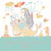 Summer cartoon background with girl with cocktail under palm on the whale in the sea with lighthouse