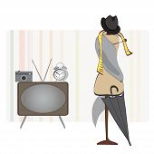 Retro Room. Alarm Clock, TV, Photo Camera, Hat and Umbrella and Dummy. Set of  Vector Objects