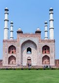 Agra, India: February 2011: Tomb of Akbar With Its Four Minarets.