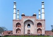Agra, India - February 2011: Landscape Picture Of Akbar's Tomb. And Its Four Minarets.