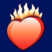 Burning Heart. Vector.