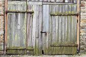 stock photo of barn house  - Rustic barn door as a background image - JPG