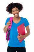 Cheerful Student Is All Set To Attend Her Classes
