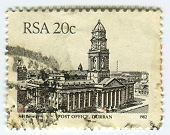 RSA - CIRCA 1982: A stamp printed in RSA shows image of The city post office was built during the 18