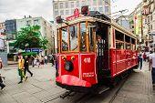 Old Red Tram In Taksim, Istanbul, Turkey