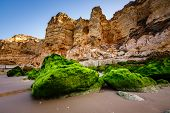 Rocks And Cliffs Of Porto De Mos Beach In The Morning, Lagos, Algarve, Portugal