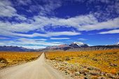 The road in the desert. The endless pampas in Patagonia, Argentina
