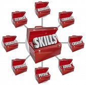 The word Skills on a red metal lunchbox to illustrate desirable qualities and characteristics in a j